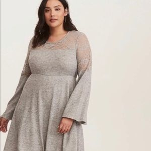 Torrid Gray Bell Sleeve Lace Inset Dress S 2
